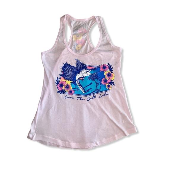 Salt Life Tops - 🌺🐟 Salt Life Blue Marlin Pink Floral Muscle Tank